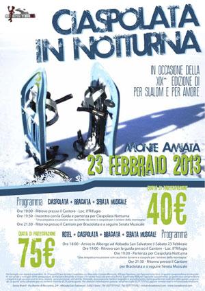 Per Slalom e per amore - Trofeo contrade - Locandina offerta ciaspolata